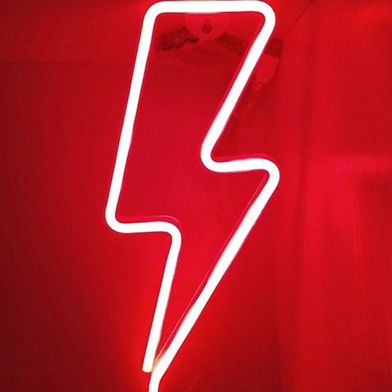 AC/DC Inspired Red Lightning Bolt LED Light