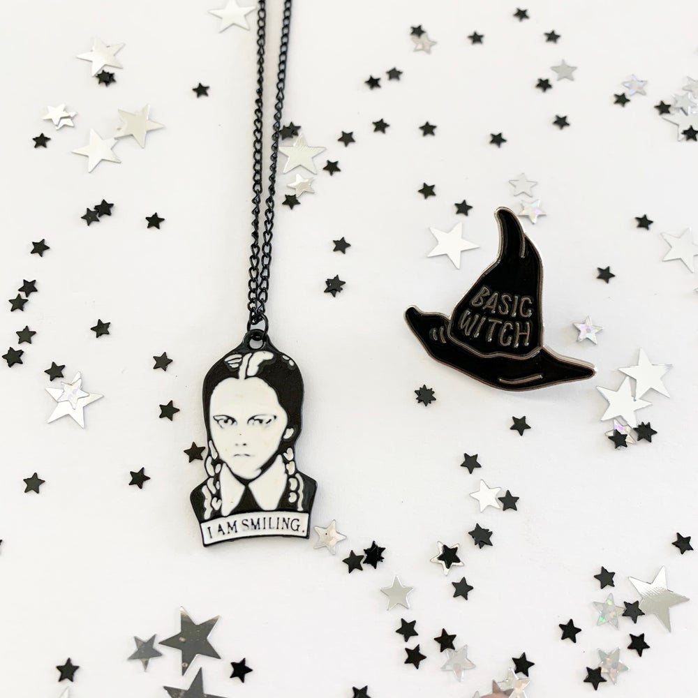 Image of Basic Witch Pin and Wednesday Addams Necklace