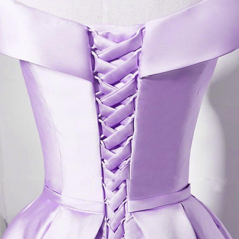 Adorable Satin Knee Length Lavender Prom Dress, Homecoming Dress Graduation Dress