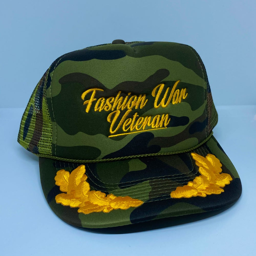 Image of Camo deadcouture Fashion War Veteran Trucker.