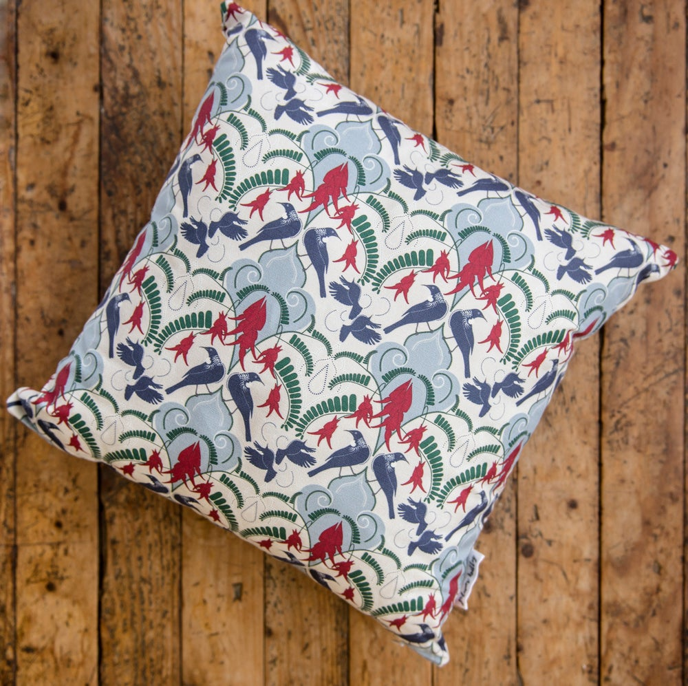 Image of Kākābeak & Tūī Damask (Cream/Blue) Cushion Covers