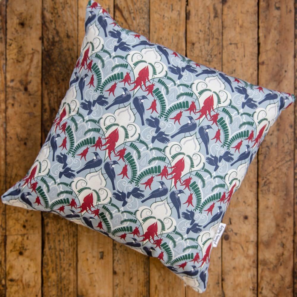 Image of Kākābeak & Tūī Damask (Blue) Cushion Covers