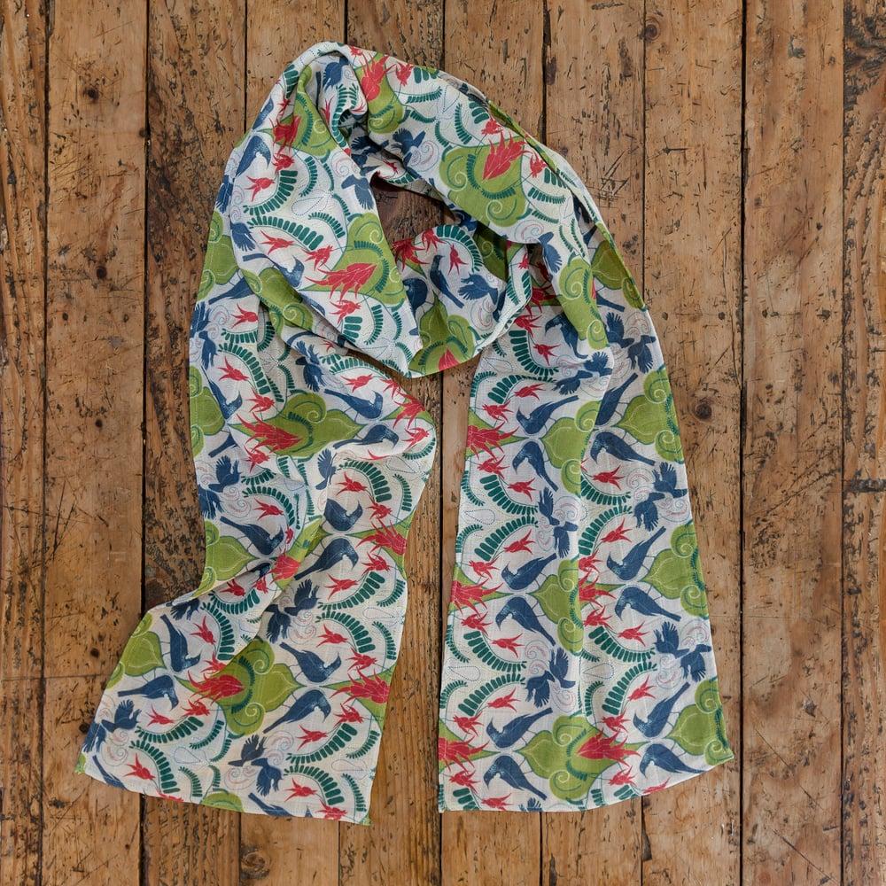 Image of Kākābeak & Tūī Damask Scarves