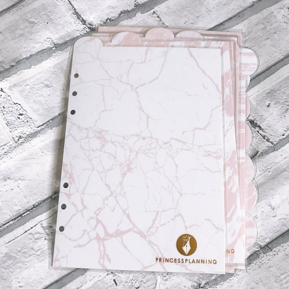 """Image of GRANDE PLANNER -PINK MARBLE LAMINATED A5 """"BLANK"""" DIVIDERS"""