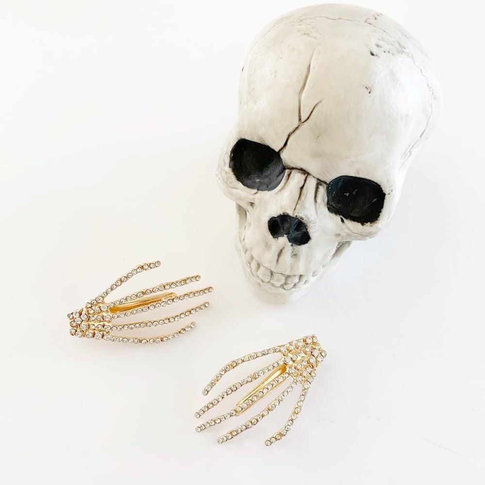 Image of Rhinestone Skeleton Hand Hair Clip