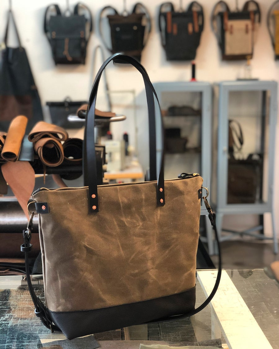 Image of Tan and black waxed canvas leather tote bag - carry all - diaper bag with leather handles and leathe
