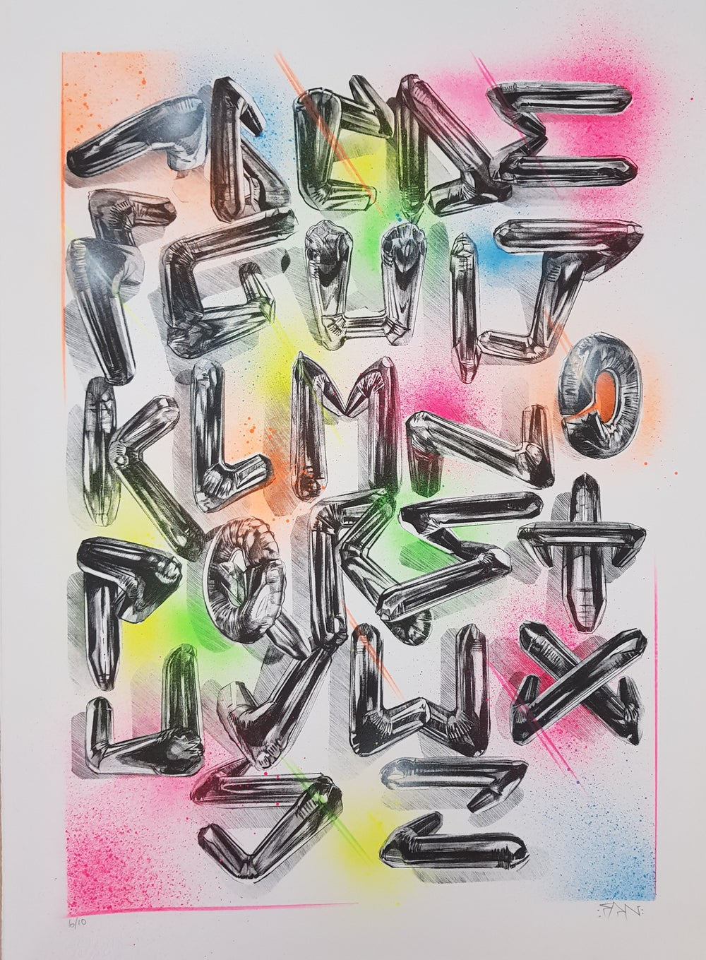 """Image of FANAKAPAN """"CHROME 7`S A-Z"""" FULL COLOUR - UNIQUE EDITION OF 20 FEATURING FLURO SPRAYPAINT"""