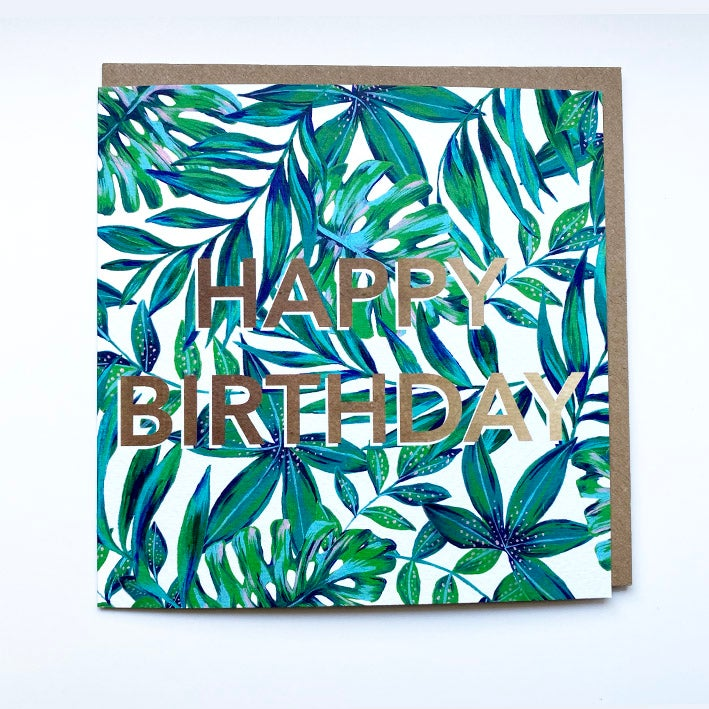 Image of Happy Birthday Tropical Leaves Card