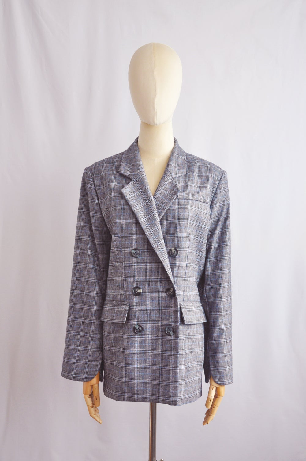 Image of DOUBLE-BREASTED CHECK BLAZER
