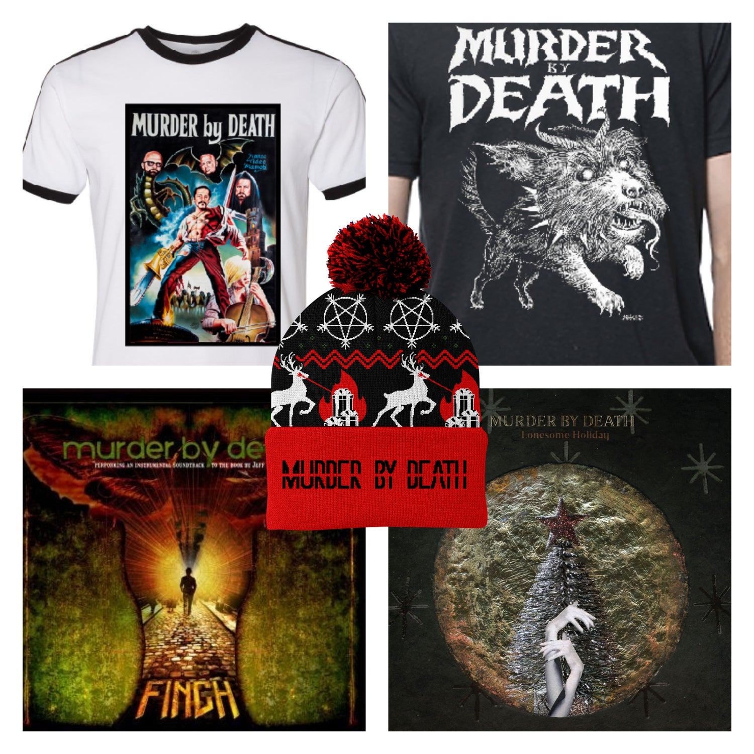 "Image of PRESALE Bundle - Lonesome Holiday vinyl, Finch 10"", Heavy J Shirt, RoboCop Shirt, Hat"