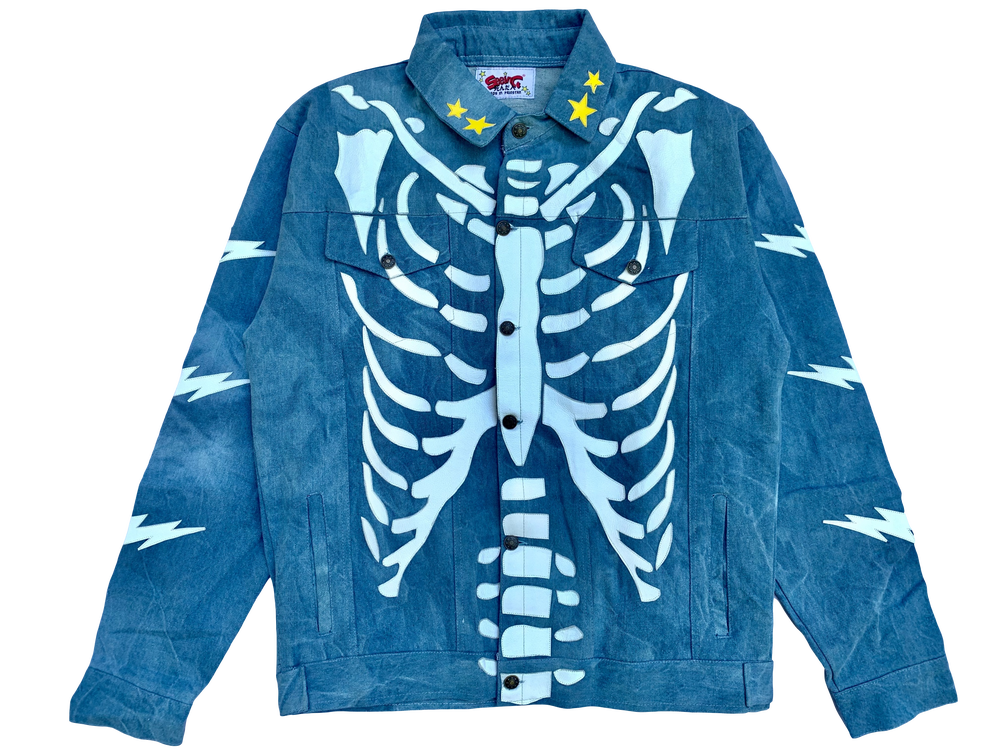 Image of VINTAGE MEDIUM BLUE RIBCAGE BONE TRUCKER  JACKET