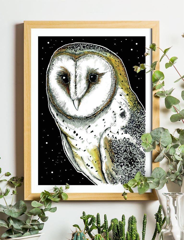 """Image of Barn Owl At Night Art Print Signed A3 Size (16"""" x 12"""")"""