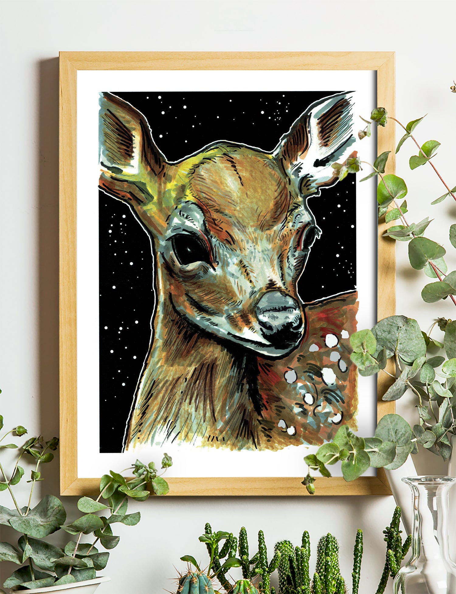 """Image of Deer At Night Art Print Signed A3 Size (16"""" x 12"""")"""