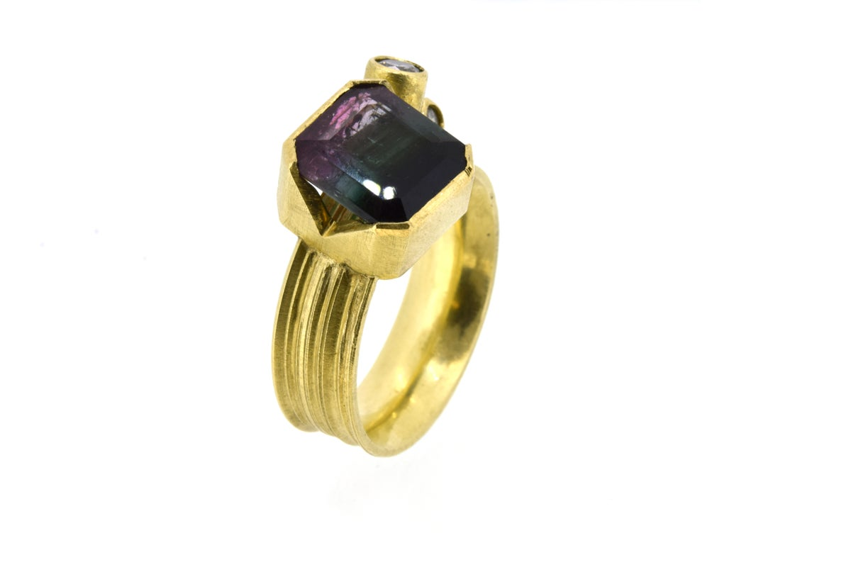 multi-coloured tourmaline and diamond cluster ring. Chris Boland