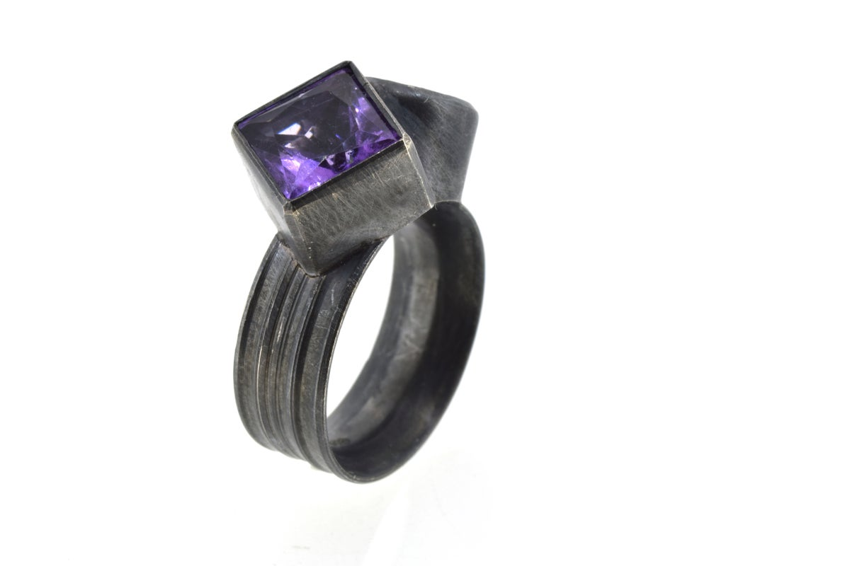 Amethyst twinned ring in oxidised silver