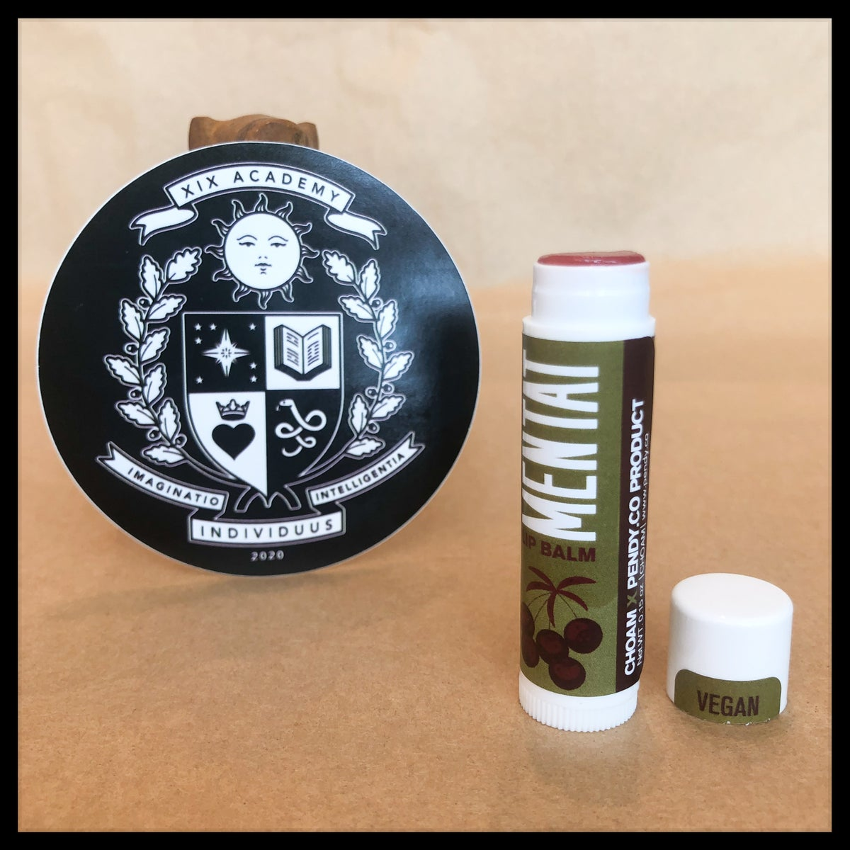 Image of Mentat Juice of Sapho Lip Balm + XIX Academy Crest Sticker