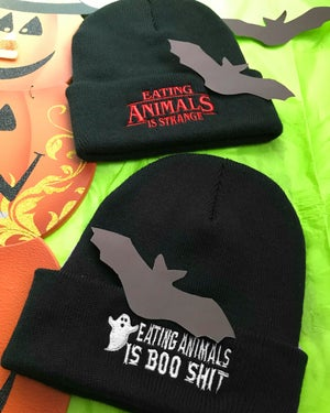 Image of Eating animals is boo shit beanie