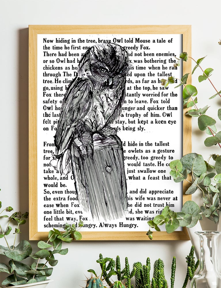 """Image of Barn Owl With Text Art Print Signed A3 Size (16"""" x 12"""")"""