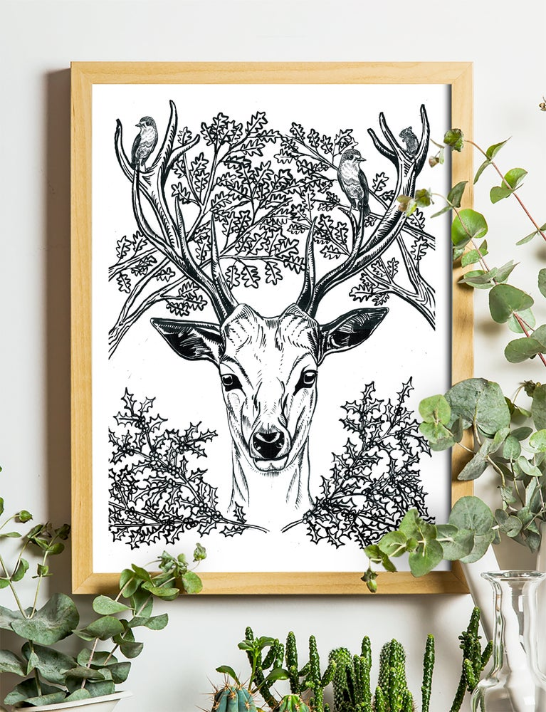 """Image of Christmas Stag Art Print Signed A4 Size (12"""" x 8"""")"""