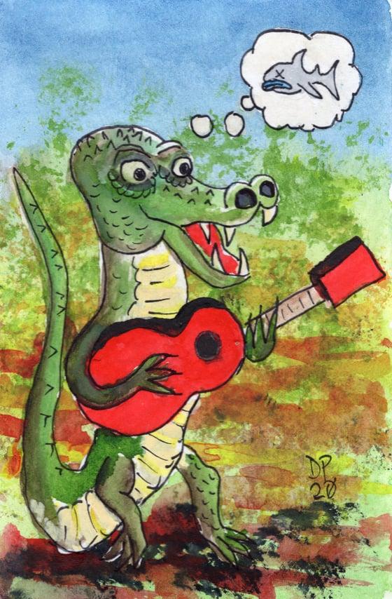 """Image of """"Gator Strummer"""" original watercolor painting by Dan P."""