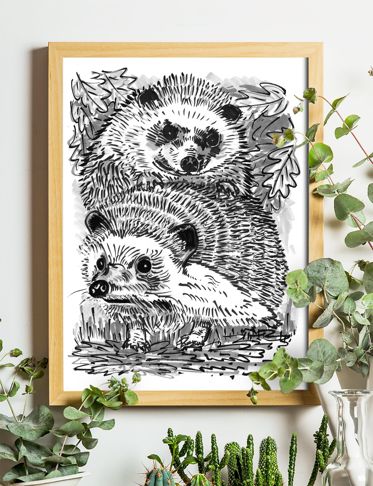 """Image of Two Hedgehogs Art Print Signed A4 Size (12"""" x 8"""")"""