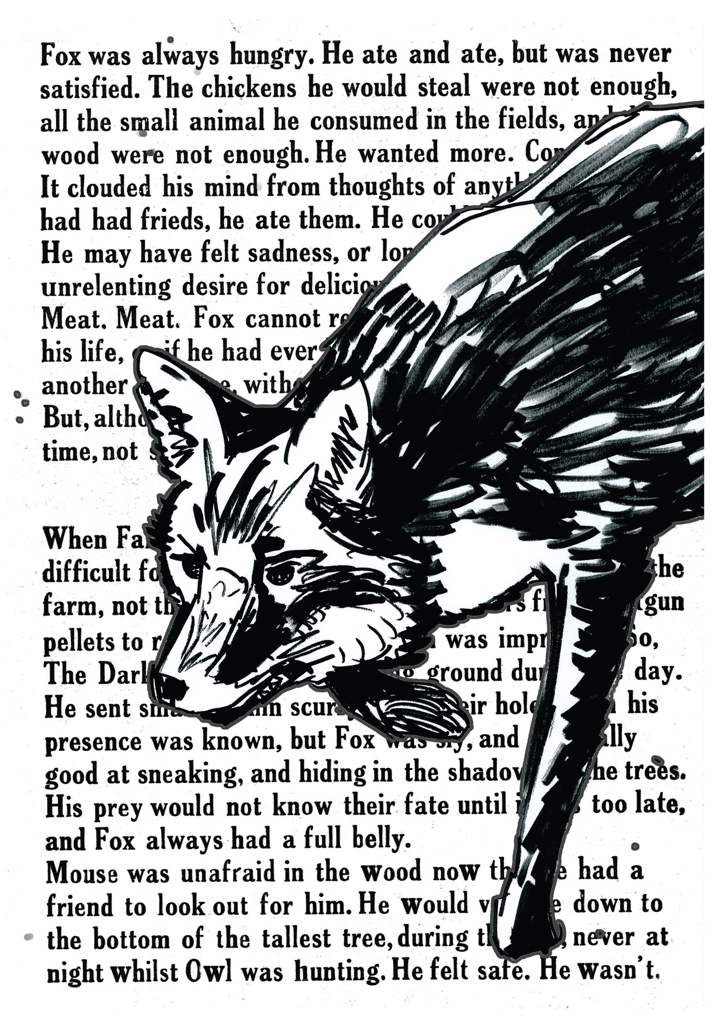 """Image of Fox With Text Art Print Signed A3 Size (16"""" x 12"""")"""