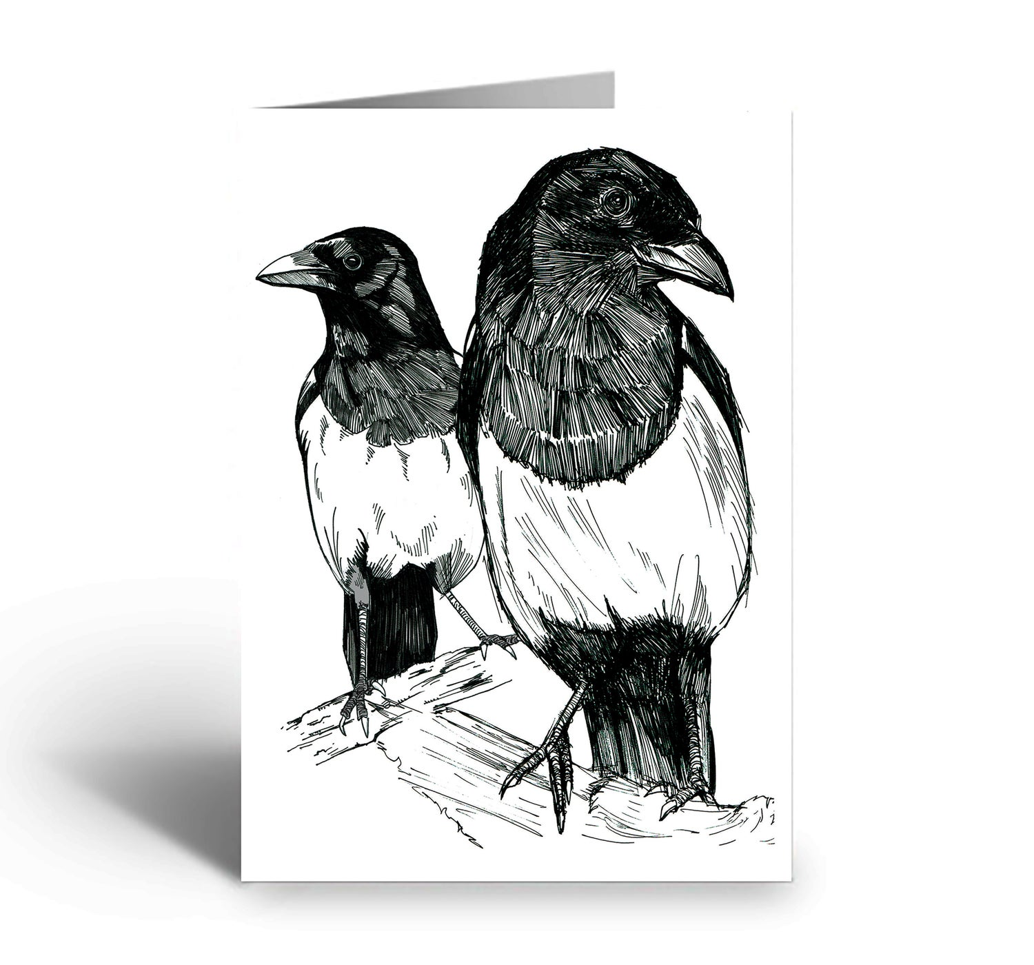 Image of Two Magpies art greetings card