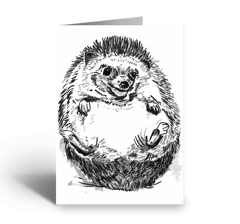 Image of Cute Hedgehog art greetings card