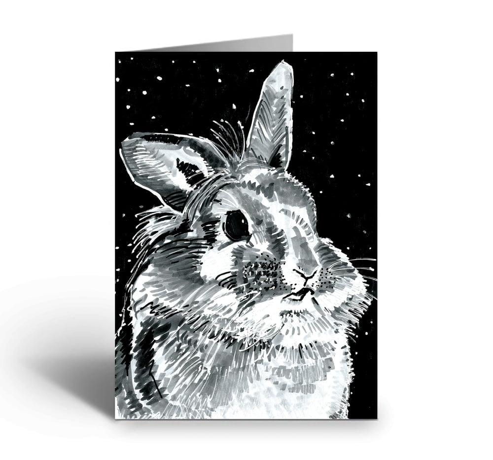 Image of Rabbit At Night art greetings card
