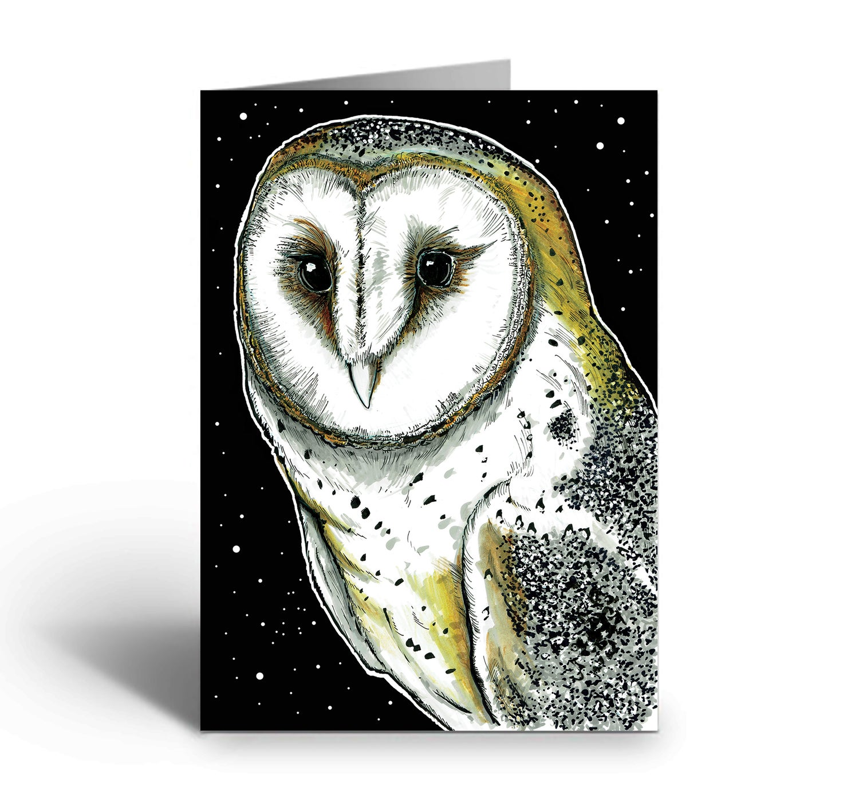 Image of Barn Owl At Night art greetings card