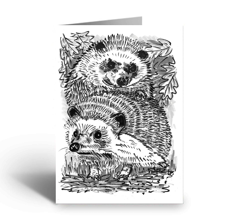 Image of Two Hedgehogs art greetings card