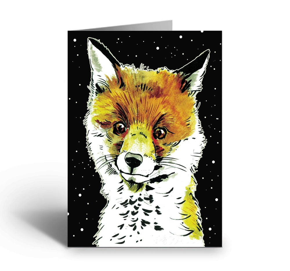 Image of Fox Cub At Night art greetings card