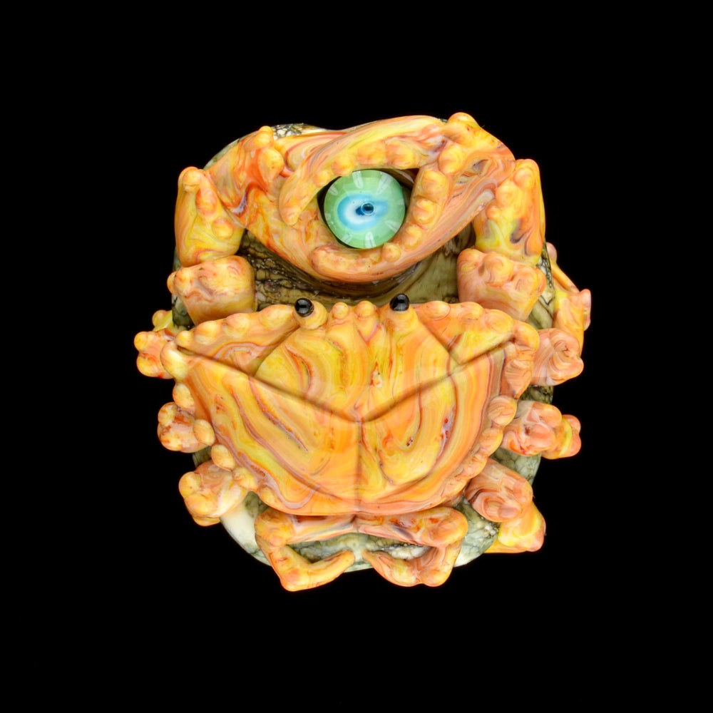Image of XL. Streaky Golden Coral Crab - Flamework Glass Sculpture Bead