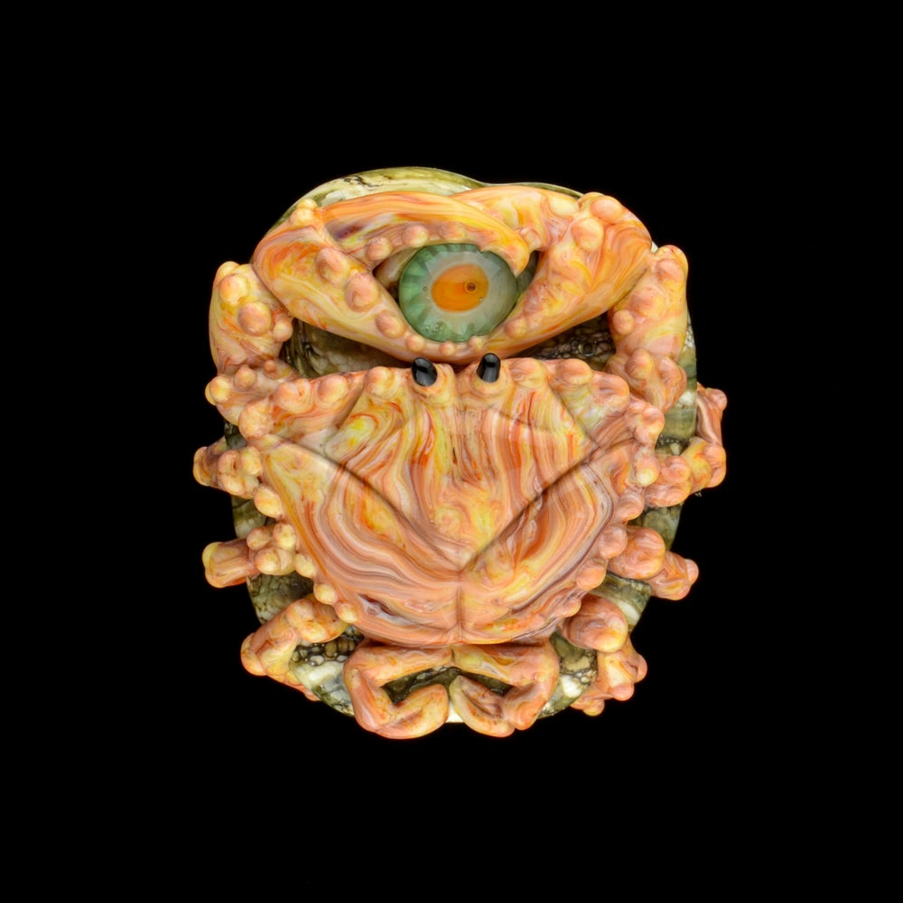 Image of XL. Streaky Pale Golden Coral Crab - Flamework Glass Sculpture Bead