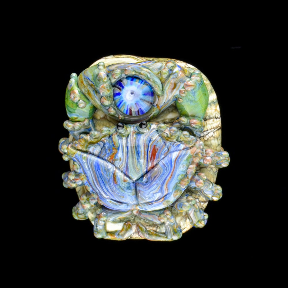 Image of XL. Streaky Green Blue Crab - Flamework Glass Sculpture Bead