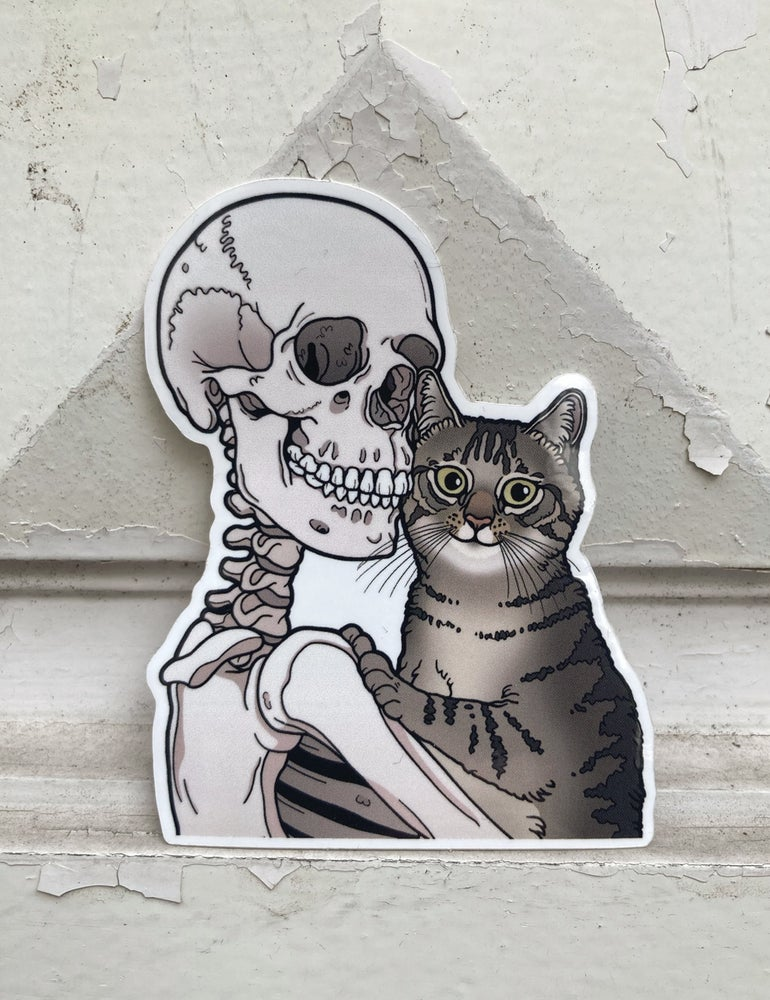 Image of Tabby cat friend sticker