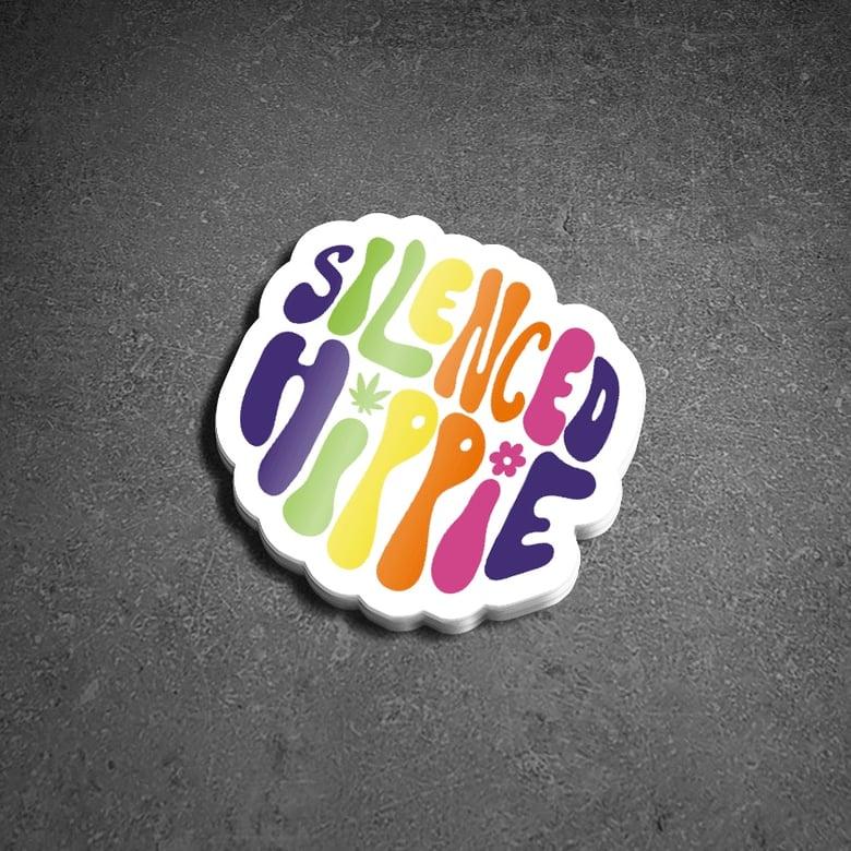 "Image of 2"" x 1.9"" vinyl sticker ""SilencedHippie"""