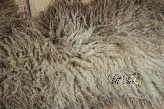 Image of Huge Felted Fur. Organically Felted Piece. (SP20) Natural Brown Curly Prop, Baby Felt Prop. RTS