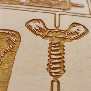 Gzy Ex Silesia - Tattoo Machine - laser engraved wood panel