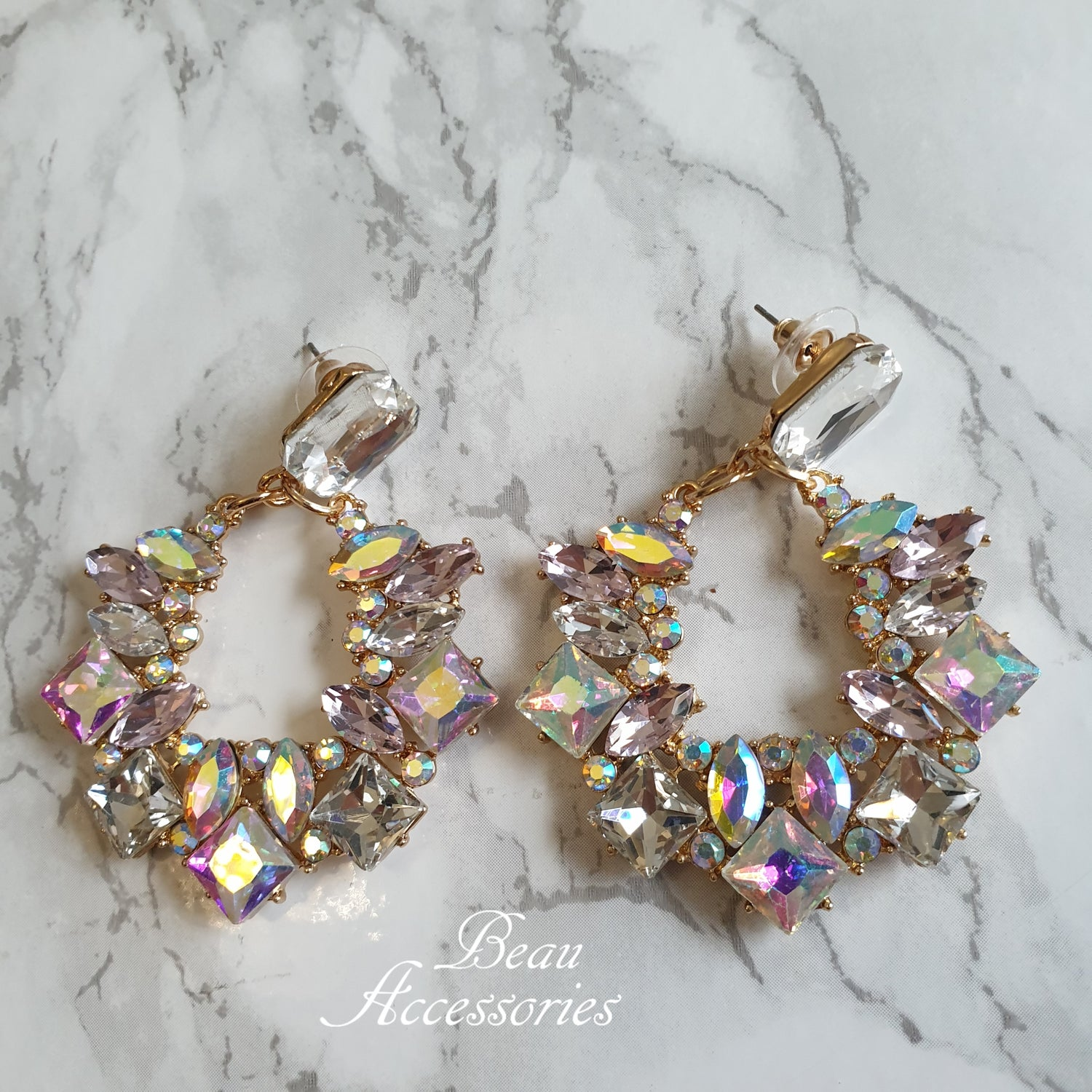 Image of Iridescent Crystal Statement Dangle Earrings