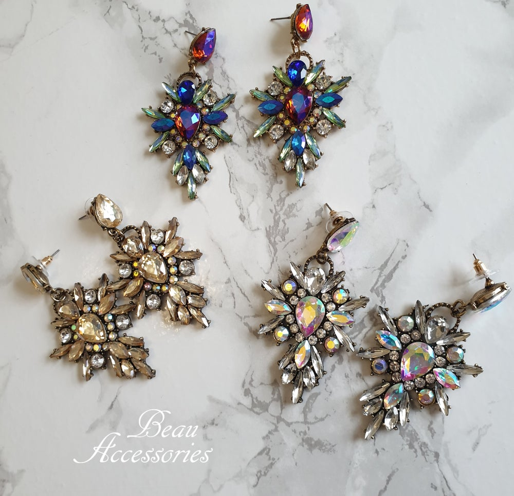 Image of Statement Rhinestone Crystal Earrings