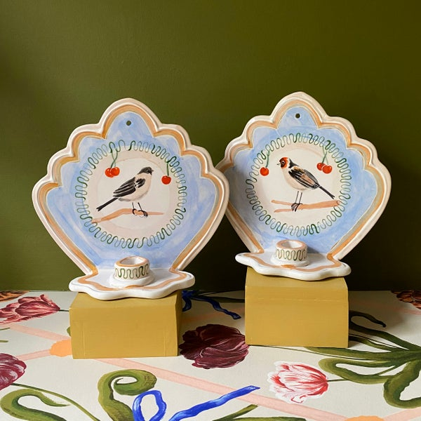 Image of Medium Blue Aviary Finches Ceramic Wall Sconces