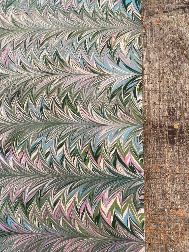 Image of NEW: PRINTED Marbled Paper - 'Fern & Feather'