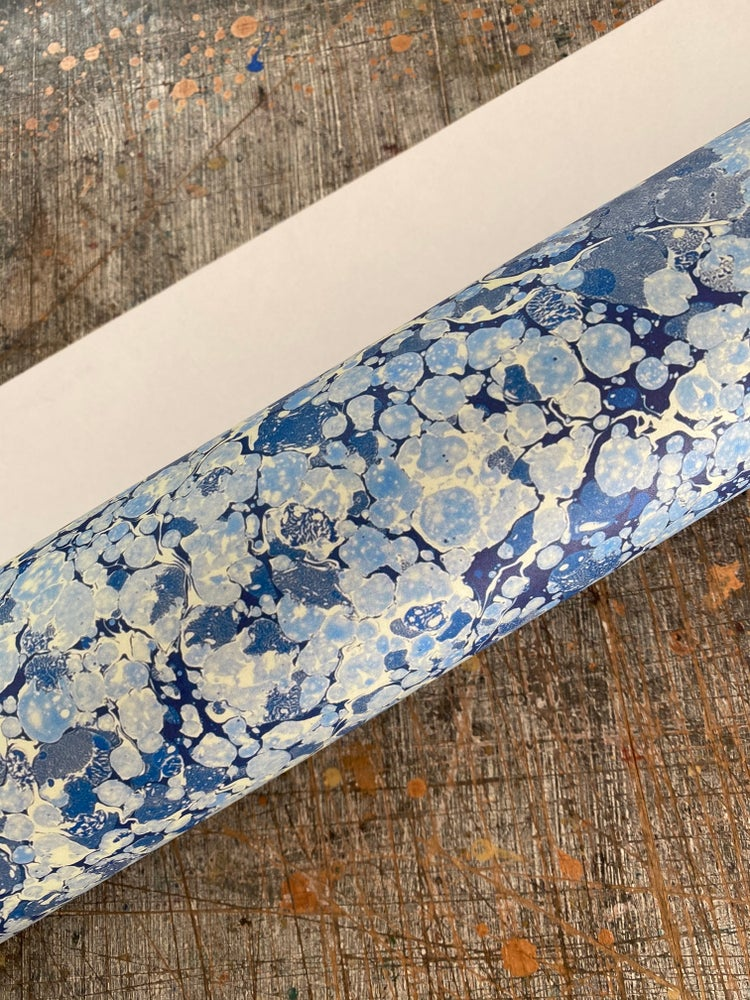 Image of NEW: PRINTED Marbled Paper - 'Cornflower Grain'