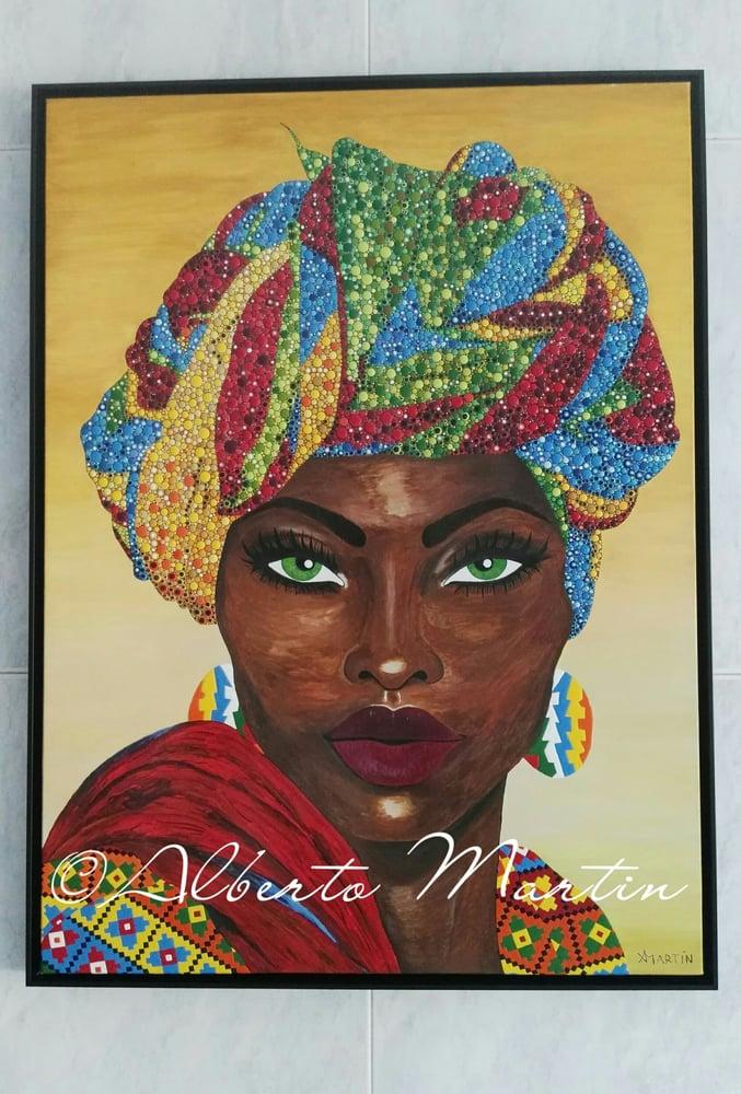 "Image of ""ALIKA"", original artwork acrylic painting dotart canvas by Mandalaole Alberto Martin"