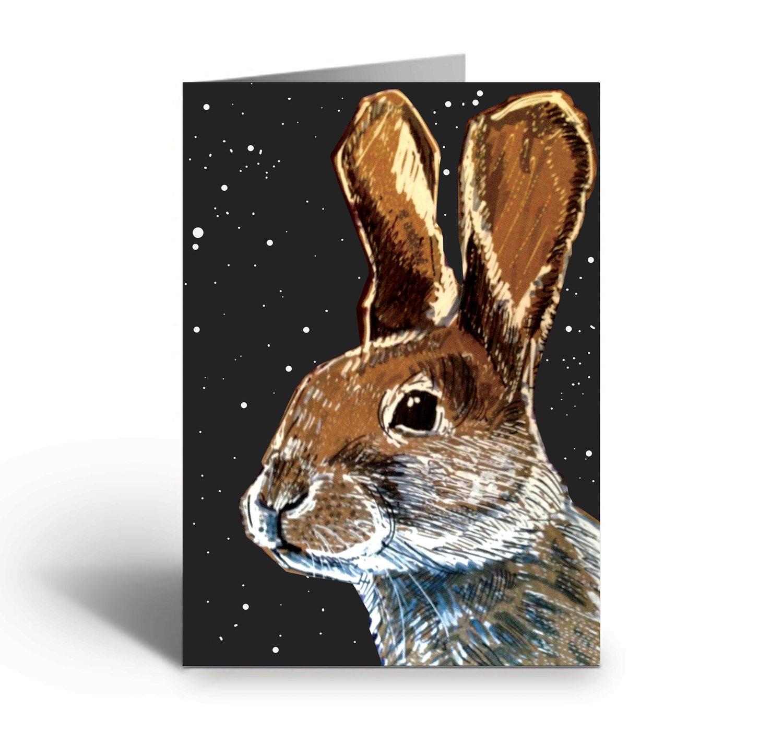 Image of Hare At Night art greetings card