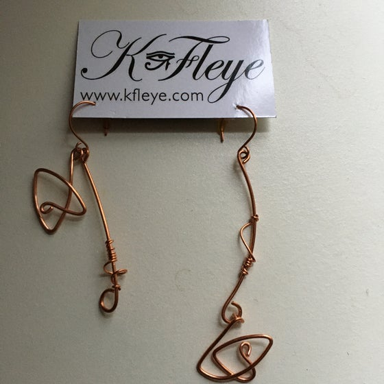 Image of Abstract copper coil earrings