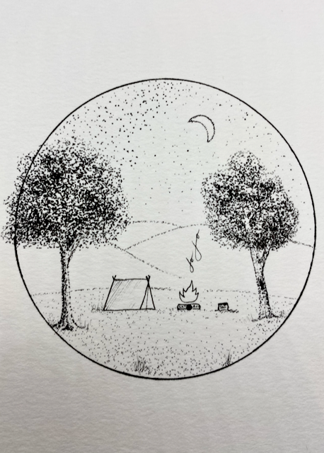 Image of Autumn Camping in the Hills Original