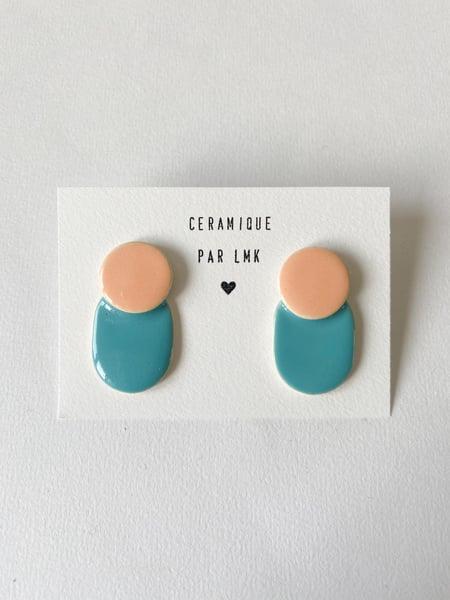Image of Paire de boucles d'oreilles céramique COLLA turquoise  et pêche