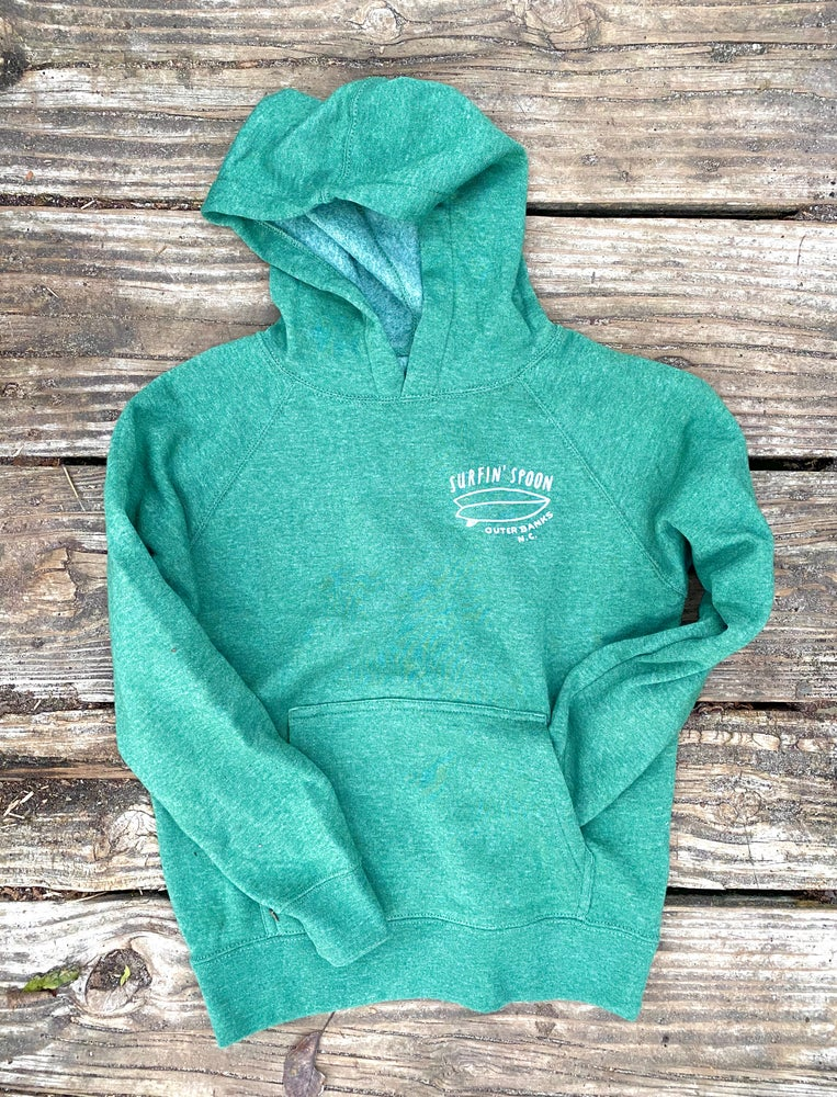 Image of Kids Stoked Pullover Hoodie - Heather Green
